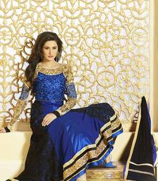 Buy Royal blue color designer semi stitched embroidered anarkali suit anarkali-salwar-kameez online