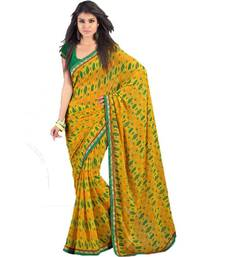 Buy Yellow chiffon printed saree with unstitched blouse  printed-saree online