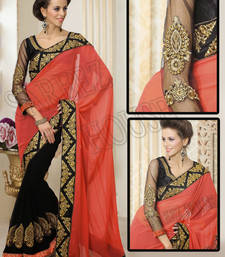 Buy Ornage and Black with Embroidery Jari and Diamond work Georgette Saree georgette-saree online