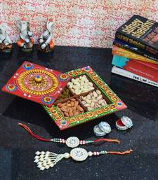 Buy eCraftIndia Rakhi set for Bhaiya/Bhabhi with Papier-Mache DryFruit Box other-home-furnishing online