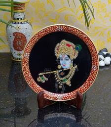 Buy eCraftIndia Elegant Painting of Lord Krishna on Marble Plate with Stand decorative-plate online