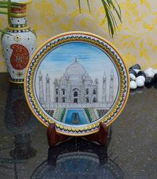 Buy eCraftIndia Classy Taj Mahal on Marble Plate with Wooden Stand decorative-plate online