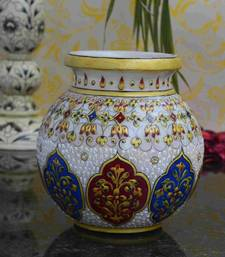 Buy eCraftIndia Marble Floral Pot with Sublime Golden Strokes pot online