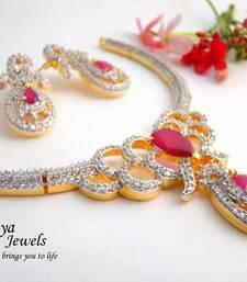 Buy Flower Bouquet pink AD Necklace Set necklace-set online