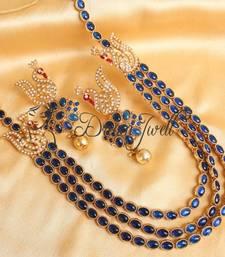 Buy GORGEOUS BLUE KEMP PEACOCK MUGAPPU NECKLACE SET necklace-set online