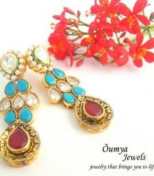 Buy Long Kundan Blue Red Earrings stud online