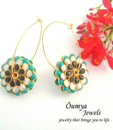 Buy Paachi Blue-Black Double sided earrings hoop online