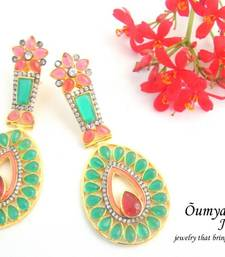 Buy Multicolour Glass stones Antique finish Fashion Earrings stud online