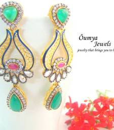 Buy Green CZ Cocktail Party Fashion Earrings stud online