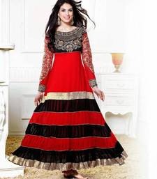 Buy Zarine Khan Kali Designer Red And Black Anarkali Suit salwars-and-churidar online
