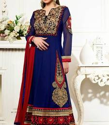 Buy Navy Blue Georgette Event Wear – Isha Deol Designer Anarkali Suit salwars-and-churidar online