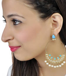 rooh-turquoise blue and pearl chand bali shop online
