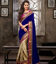 Buy Beige & Blue Colour Satin Georgette With Velvet Half & Half Saree georgette-saree online