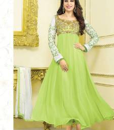 Buy Karishma Kapoor Geogette Stone Work Light Green Semi Stitched Long Anarkali Suit By fabfiza anarkali-salwar-kameez online