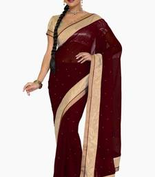 Buy Maroon color faux georgette saree with blouse party-wear-saree online