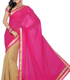 Buy Hot Pink and Beige Color Faux Chiffon Saree with Blouse chiffon-saree online