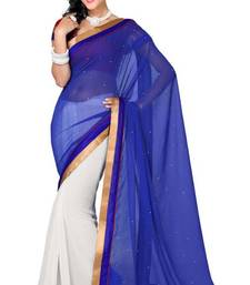 Buy White and Royal Blue Color Faux Chiffon Saree with Blouse chiffon-saree online