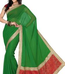 Buy Green Color Faux Chiffon Saree with Blouse  chiffon-saree online