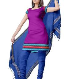 Traditional Solid Zari Border Cotton Dress Material PSL649 shop online