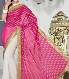 Buy Trendy Party Wear White and Pink Color Faux Chiffon and Faux Georgette Jacquard Saree with Blouse chiffon-saree online
