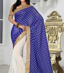 Buy Trendy party wear white and blue color faux chiffon and faux georgette jacquard saree with blouse chiffon-saree online