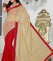 Buy Trendy Party Wear Red and Beige Color Faux Chiffon and Faux Georgette Jacquard Saree with Blouse chiffon-saree online