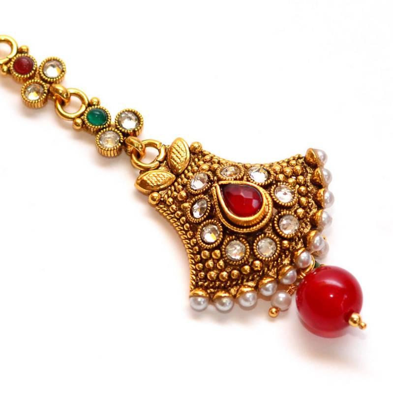Buy Anvi S Bridal Polki Pearls Maang Tikka With Droplet Online