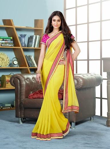 Buy yellow designer ileana d cruz style georgette ethnic saree online