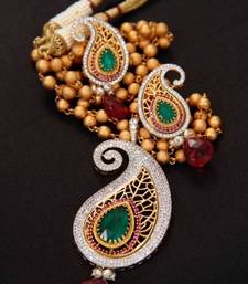 Buy Diamond paisely pendant set with jali work  Pendant online