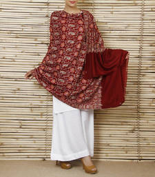 Buy Maroon Jamawar pure pashmina Shawl with papier mashe work shawl online