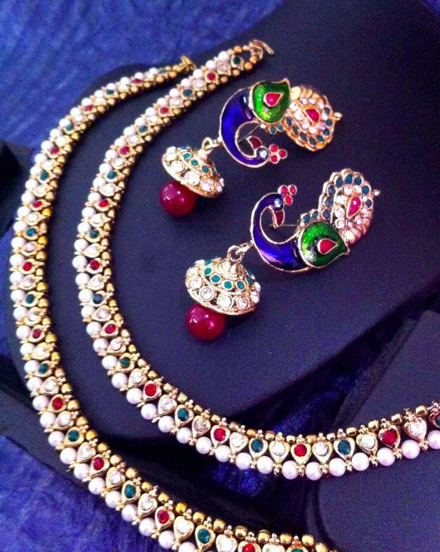 Buy India Combo Maroon Green Pearl Payal Anklet