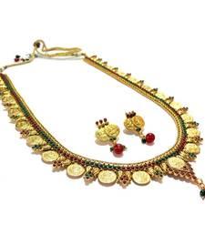 Buy Red & Green Goddess Lakshmi Coin Necklace Set necklace-set online