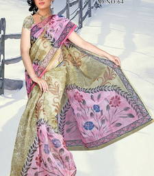 Buy Olive Green and Pink Supernet Saree with Blouse printed-saree online