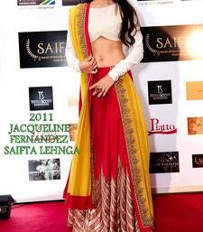 Buy RED AND YELLOW GEORGETTE AND ART SILK  MULTY EMBROIDERY LAHENGA WITE DUPATTA bollywood-lehenga online