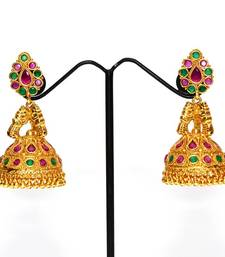 Buy Anvi's big size kempu jhumkas with rubies and emeralds jhumka online