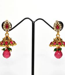 Buy Anvi's kempu jhumkas with white stones and droplet jhumka online