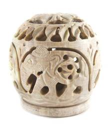 Buy Hand carved elephant design stone candle holder candle online