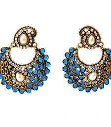 Buy Paisely Halfmoon Earrings - Navy Blue danglers-drop online