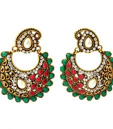 Buy Paisely Halfmoon Earrings - Red Green danglers-drop online