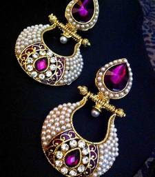 Buy Antique purple victorian fusion india-british sparkling stone pearl polki earring o28 danglers-drop online