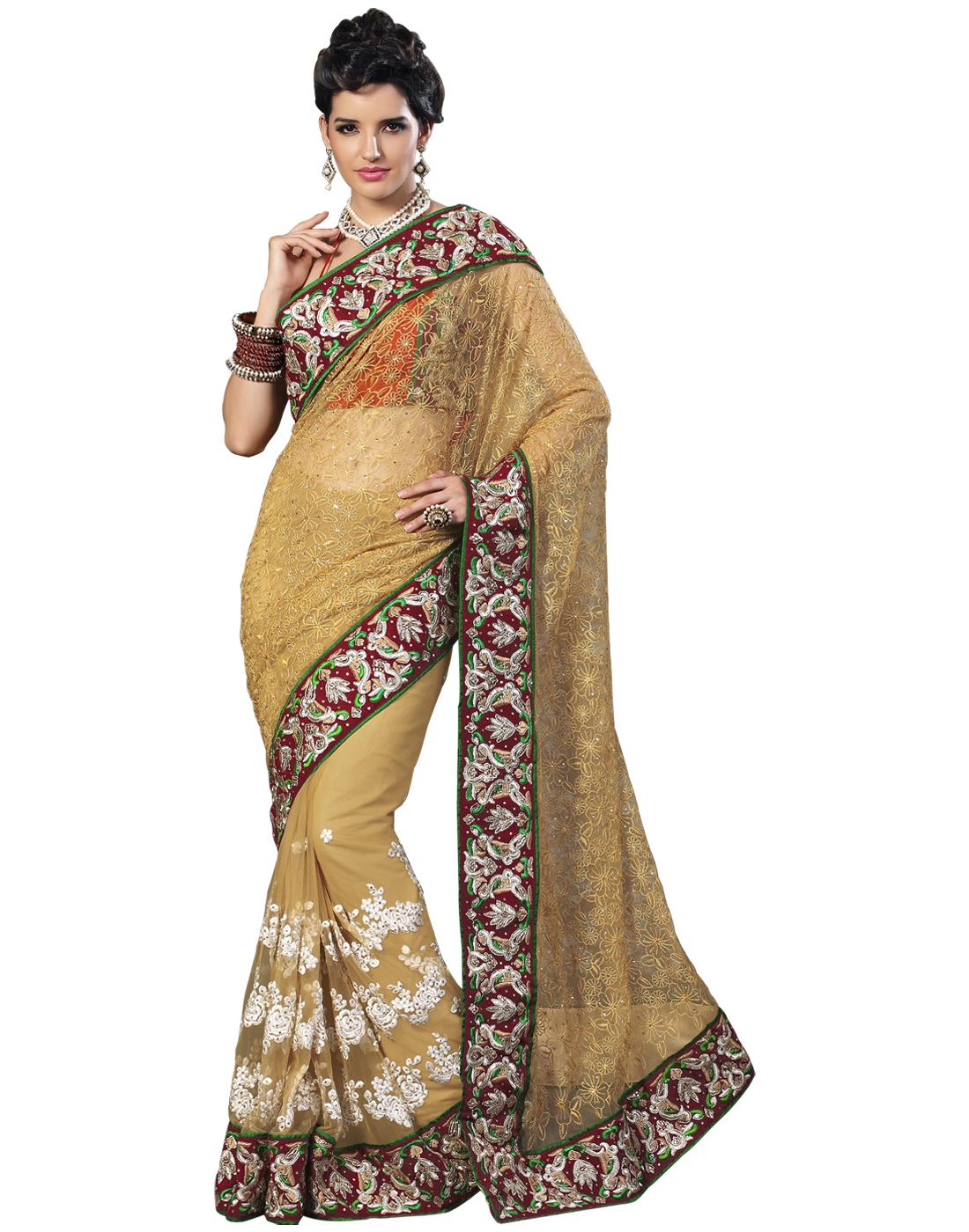 Hand embroidery work sarees makaroka