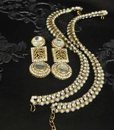 Buy Gold Plated Handcrafted White Earrings & Pearl Anklets jewellery-combo online
