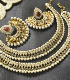 Buy Bollywood Maroon & Green Colour Earrings with Green colour pearl Anklets jewellery-combo online