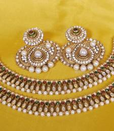 Buy JevantaBai's Traditional Earings with Ruby stone, Pearl & Maroon & Green Anklets jewellery-combo online