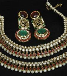 Buy Gold Plated Handcrafted Maroon, Green Earrings & Maroon colour Anklets jewellery-combo online