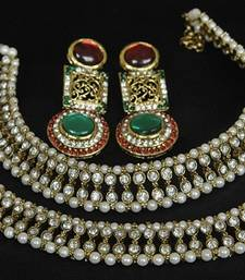 Buy Gold Plated Handcrafted Maroon, Green Earrings & White colour Anklets jewellery-combo online