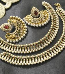 Buy Bollywood Maroon & Green Colour Earrings with pearl & Kundan Anklets jewellery-combo online