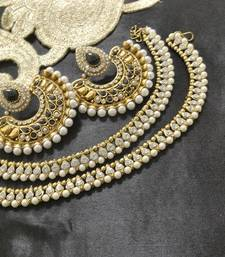 Buy Bollywood Earrings with Black colour stones & White colour Anklets jewellery-combo online