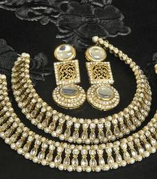 Buy Gold Plated Handcrafted White colour Earrings &  Anklets with Pearl & Kundan jewellery-combo online