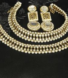 Buy Gold Plated Handcrafted White colour Earrings & White colour Anklets with Pearl jewellery-combo online